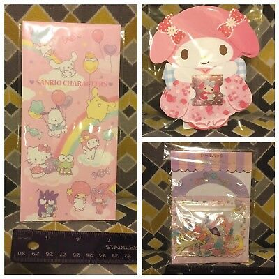 Sanrio Friends 3 Pc Lot Money Envelopes My Melody Sanrio Friends LTS Stickers