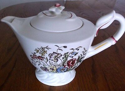 RARE 1940s VERNON KILNS Calif.  Teapot Hand Painted ~ MAY FLOWER~ Pattern 5 cup