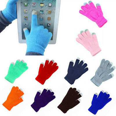 Men Women Knit Winter Warm Gloves Smart Phone Touch Screen Full Finger Mittens