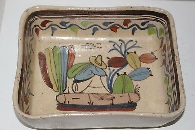 """Old Vintage Hand Painted Mexican Tlaquepaque 7"""" X 8.25"""" Pottery Tray"""