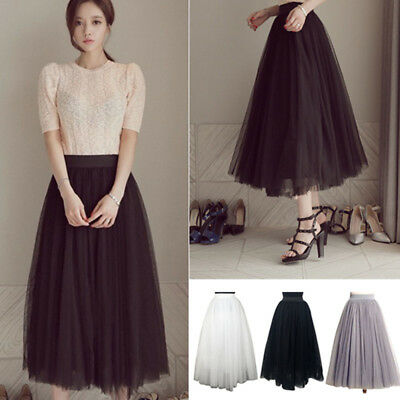 Women Ladies Long Tutu Tulle Skirt Casual Party Design Gauze Loose Bubble Skirt