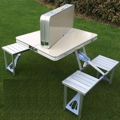 Bartonisen Folding Picnic Table Aluminum Travel Table Coffee Tables 4 Folding