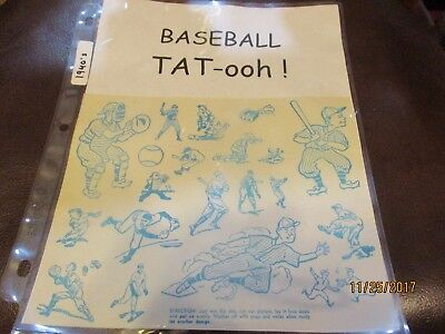 Vintage 1940's Baseball TAT-ooh ! tattoo Bat Ball Pitch catch Rare find WOW