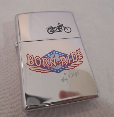 Vintage 1992 Born To Ride Zippo Lighter Motorcycle Series New no box