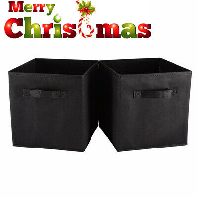 28cm 6PK Black Foldable Fabric Storage Collapsible Bins Box Cube Organiser
