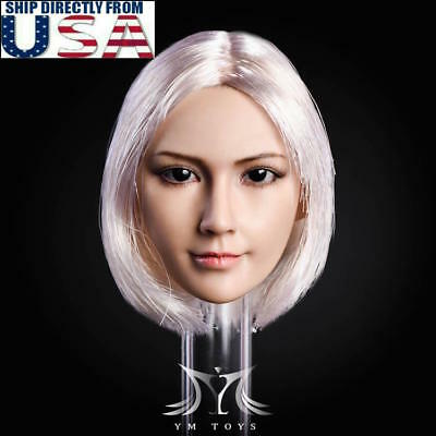 "1/6 Female Head Sculpt SILVER Hair For 12"" PHICEN Hot Toys Female Figure U.S.A."