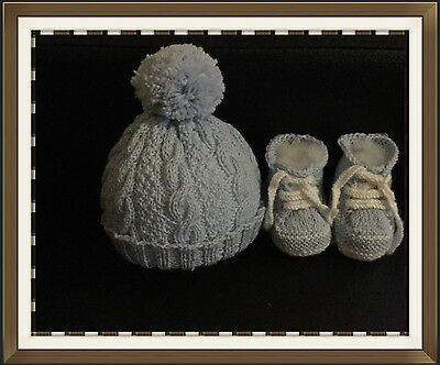 Hand Knitted - Cable Beanie With Pom Pom & Matching Sneakers