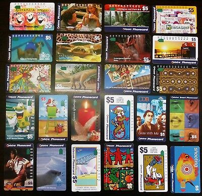 Mixed Australia TELECOM & TELSTRA Phone Cards, $5, some without holes