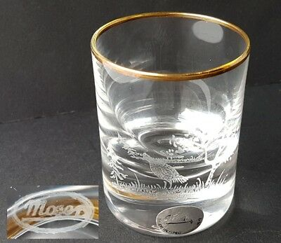 Glass Cup Hunting Motif Hand Engraved Signed Moser, um 1950 - 1970 L265