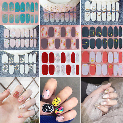 14pcs/Sheet Nail Art Tips Full Stickers Decals Nail Wraps Manicure Decoration