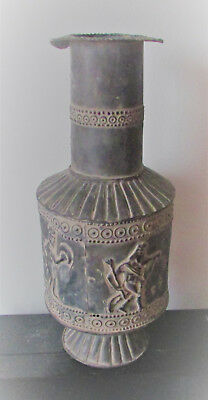 Very Nice Ancient Persian Hand Beaten Silver Vessel With Scenes