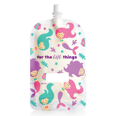 Sinchies 200ml Reusable Food Pouches Infant Baby Pouch 1/5/10 Pack - Mermaids
