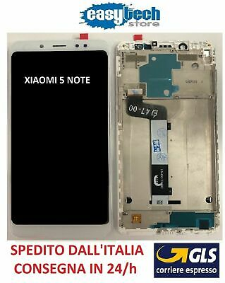 Touch Screen  LCD Display Vetro Schermo con Frame Per XiaoMi Redmi NOTE 5 Bianco