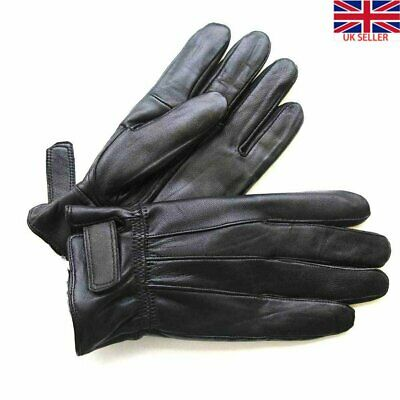Men's Thinsulate Insulated Fleece Lined Winter Warm Black Thermal Leather Gloves