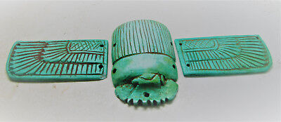 Lovely Ancient Egyptian Glazed Winged Scarab With Heiroglyphics