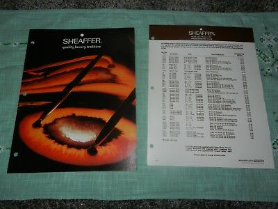 Vintage 1970's Sheaffer Pen Desk Set Brochure and Price List