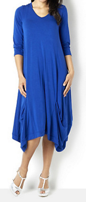 Join Clothes Jersey Dress with Gathered Hem Detail Grecian Blue Medium New Tags