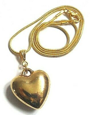 """Puffed HEART Suspended from 16"""" Gold Plated Snake Chain/Necklace"""
