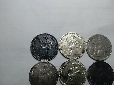 French Indochina/Indochine lot 6 silver coins 10 cents 1888->1902