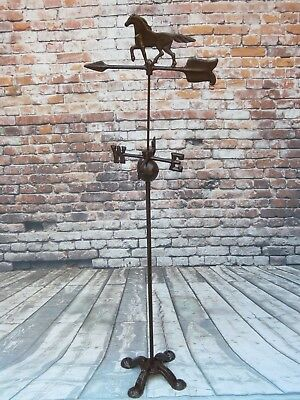 Vintage 4-1/2 Ft Tall Cast Iron Horse & Arrow Weathervane On Claw Foot Stand