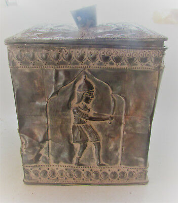 Rare Ancient Persian Silver Canister Depicting Gladiators Inside & Out