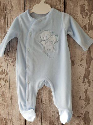 Gorgeous Baby Boy Blue Velour Sleepsuit / Babygrow / All In One / Romper.