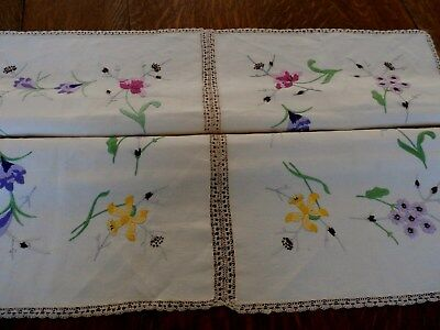 vintage hand embroidered lace spring flowers linen tablecloth