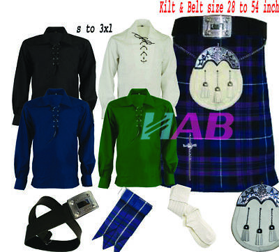 Men's Scottish Traditional 8-Pic Pride-of-Scot 8Yard 16oz Kilt Set outfit by HAB
