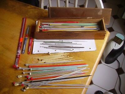 Nice vintage large  collection of sundry knitting needles/hooks in wooden box.