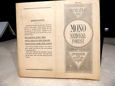 """1917 Mono National Forest California Map 49 x 33"""" West Half"""
