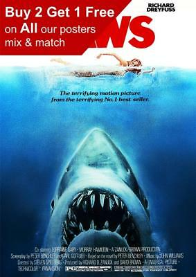 Jaws 1975 Movie Poster A5 A4 A3 A2 A1