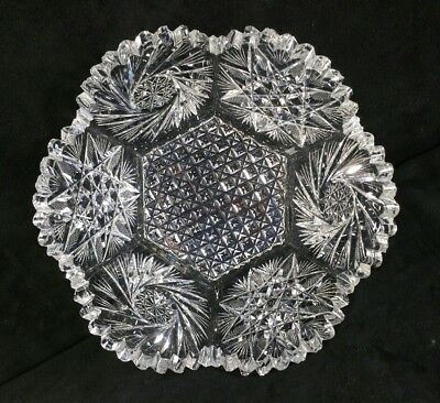 "Antique ABP Cut Crystal Glass Hexagonal Bowl Spirals Stars Hatching 7 7/8"" FINE"
