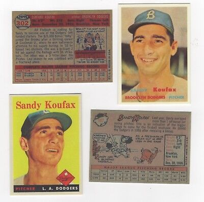 2 REPRINTS CLEARANCE SALE 1957 1958 TOPPS SANDY KOUFAX BROOKLYN DODGERS LA
