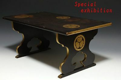 Japan Antique Edo Gold Makie table desk tokugawa Busho sword koshirae Yoroi good