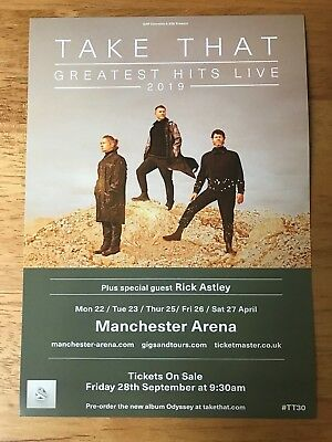 Take That - Greatest Hits Live - Manchester Arena 2019 Uk Tour Flyer (Size A5)