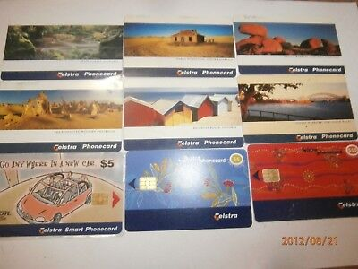 9x TELSTRA PHONECARD SMART CARD LOT BULK 1990s SCENERY INDIGENOUS - FREE POST