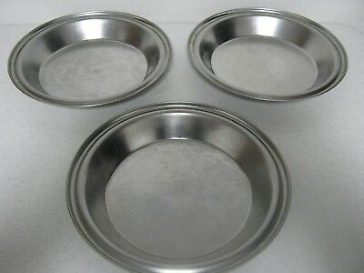 "3 Vintage Stainless Steel Vollrath Pie Plates . 9"" . Excellent Condition . CLEAN"