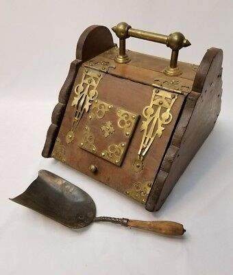 Antique Coal Ash Wood Box with Brass Accents 1866 Dated Shovel