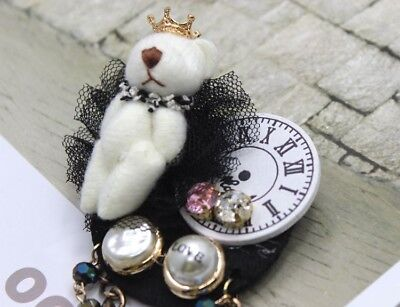 Vintage Style Coco Collar Lapel Brooch White Felt Bear Gold Crown Pearl Clock UK