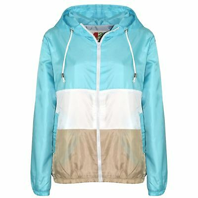 Kids Girls Boys Windbreaker Contrast Panel Aqua Hooded Jackets Rain Mac Raincoat