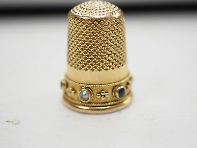 Vintage Antique 15k Solid Gold Sewing Thimble Beautiful Sapphires and Pearls