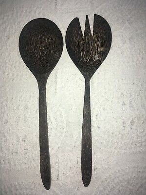 Large Wooden Spoon And Fork Set Black Stain Distressed