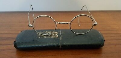 Edwardian Antique Silver Coloured Spectacles Glasses with case
