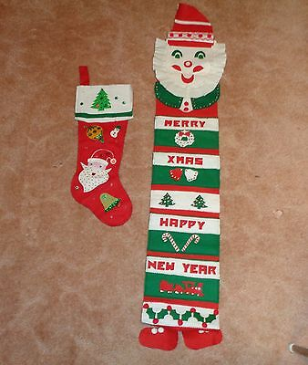 "Vintage Christmas Handmade Felt Sequin 50"" SANTA MAIL HOLDER & 20"" STOCKING"