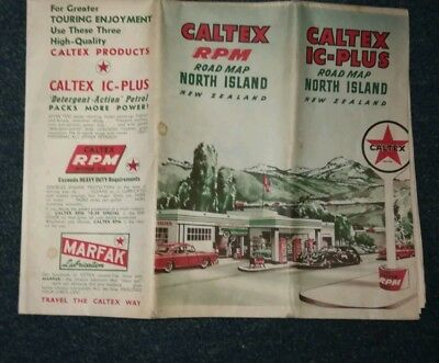 Vintage Caltex IC - Plus Road Map North Island New Zealand Approx 1950s
