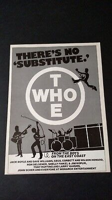 """The Who . """"there's No Substitute."""" Rare Original Print Promo Poster Ad"""