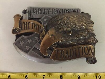 Rare Limited Edition Harley-Davidson The Twin Tradition 1990 Belt Buckle