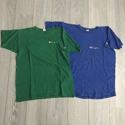 Lot Of 2 VTG 80/90s CHAMPION Spellout T-shirt Blue Green MENS XLARGE Made In USA