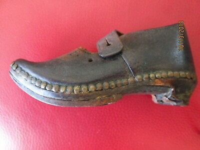 Antique Civil War Era Child's Shoe Hand-Crafted Leather  Square Nails
