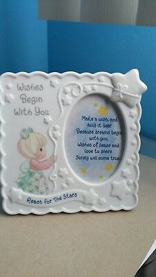"""Precious Moments Picture Frame """"Wishes Begin With You"""" (1998)"""